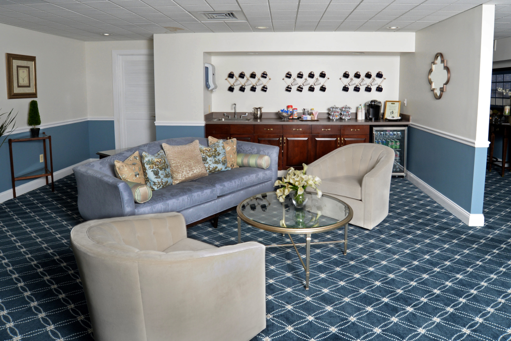 Upstair LoungeDrink Bar is a comforting place with two plush, velour swivel chairs for those who may want to be present, but not necessarily a part of the arrangement meeting.