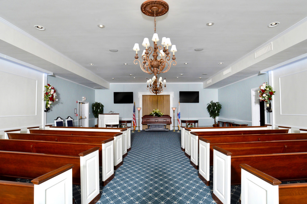Josiah S. Everly Memorial Chapel can seat 150 guests, and is equipped with two wall-mounted flat screen TVs, a microphone/audio system, and camera for broadcasting on a closed network to other TVs in the building.