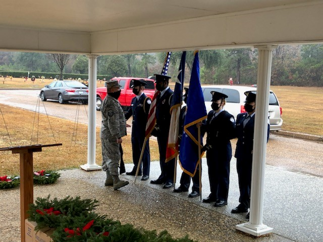 JrROTC prepares to present the Colors at the Wreaths Across America Ceremony