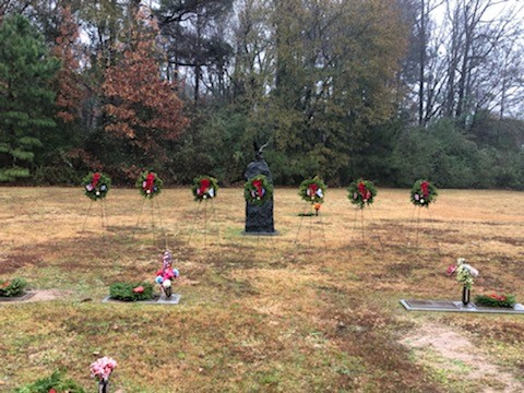 Veterans wreaths at the Veterans Field of Honor at Algoma Cemetery