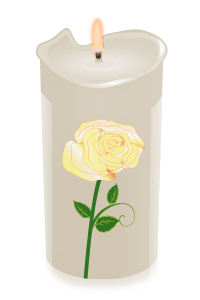 candle rose yellow