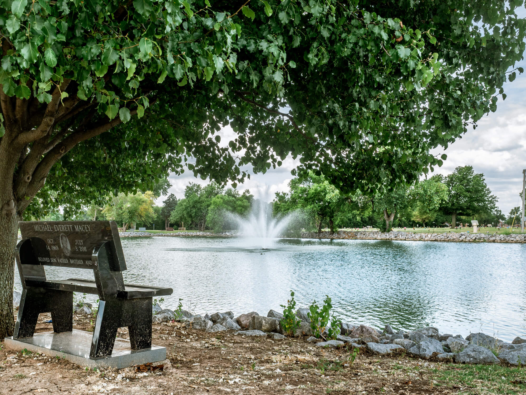 Bench and water features at oklahoma city cemetery