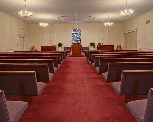 bright funeral home interior