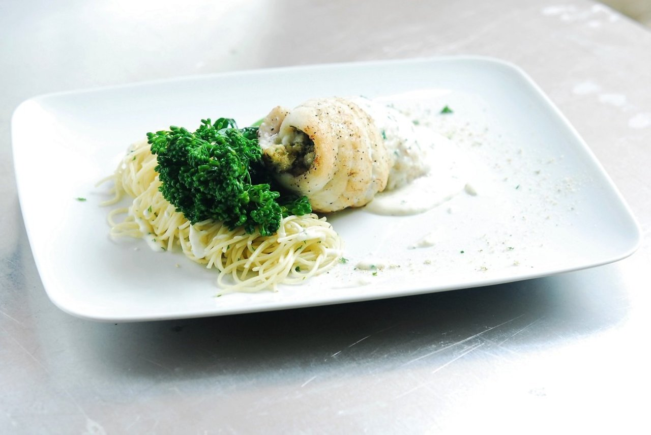 Stuffed Flounder with Seafood Velouté