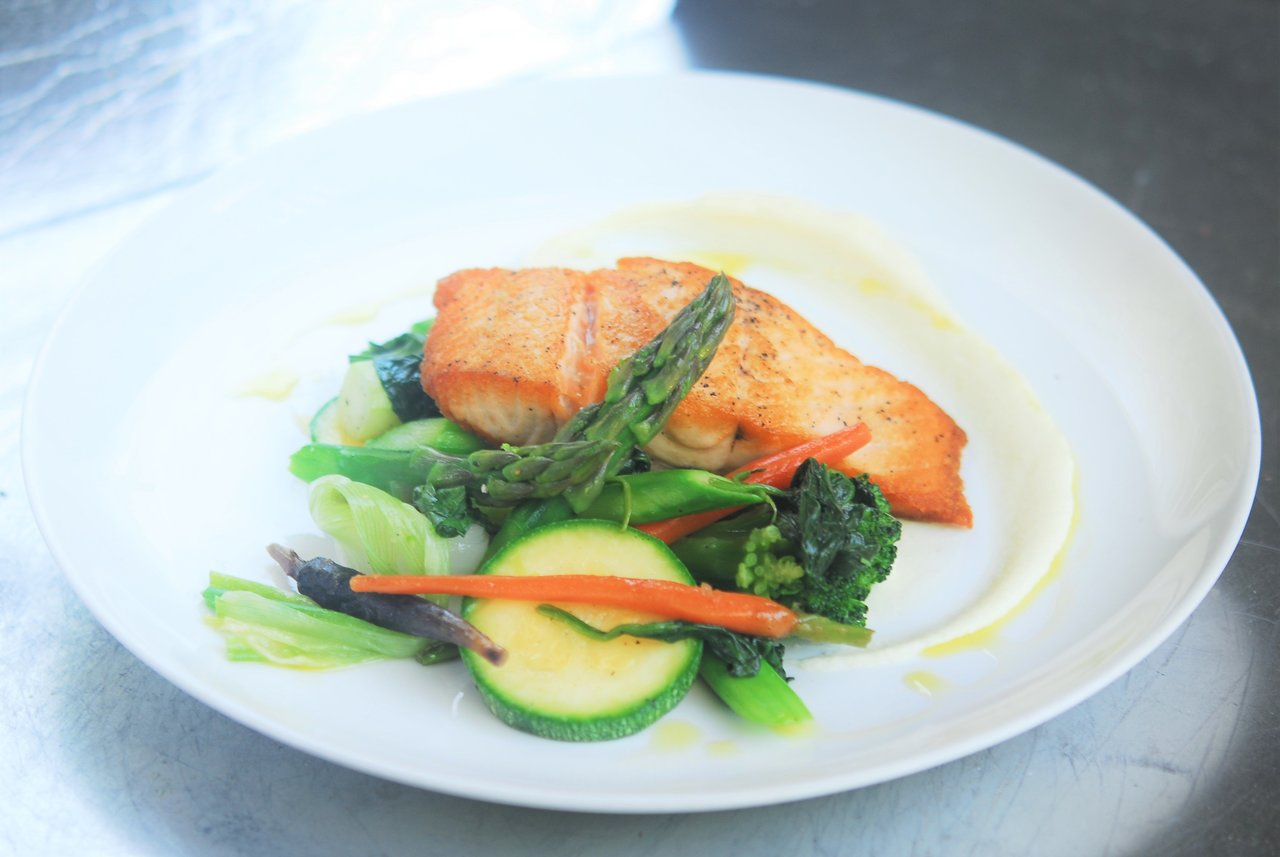 Seared Wild Caught Alaskan Salmon with Steamed Vegetables