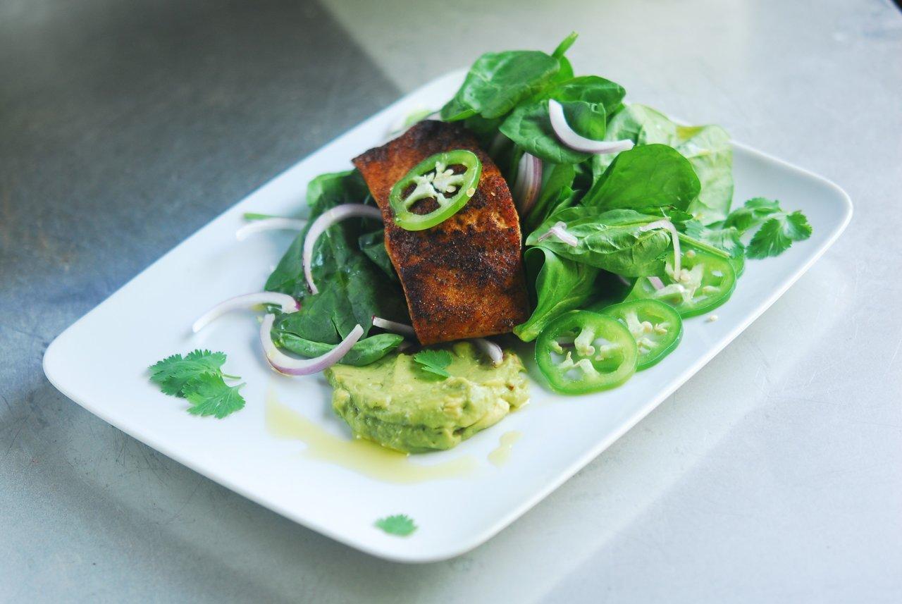 Blackened Wild Caught Alaskan Salmon Salad with Avocado Salsa