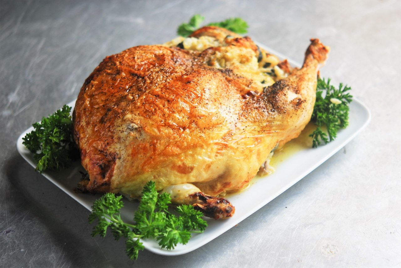 Risotto Stuffed Whole Deboned Chicken