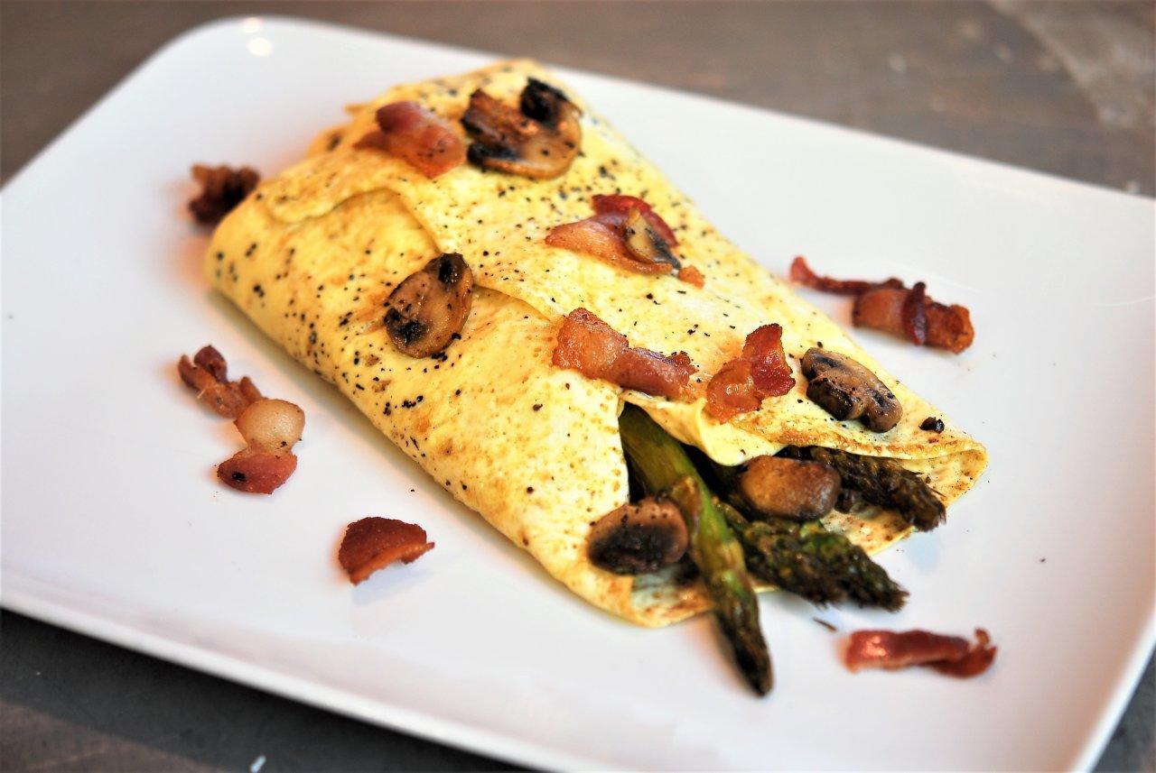 Paleo Asparagus & Mushroom Folded Omelet