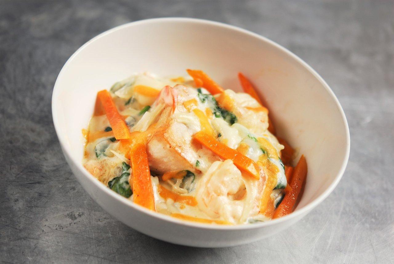 Keto Au Gratin Haddock & Shrimp Spinach Casserole
