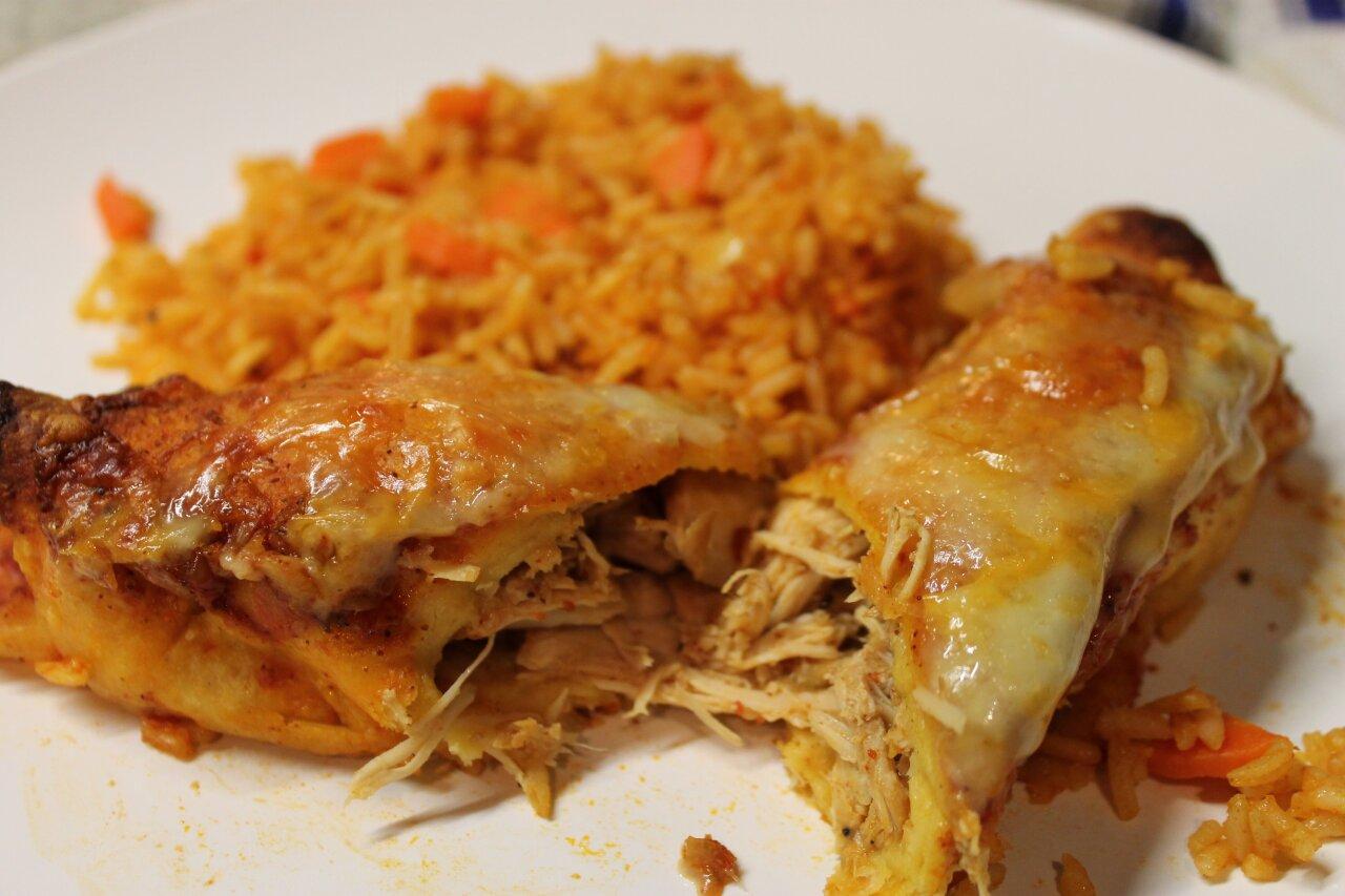 Wolfe's International - Chicken Enchiladas & Spanish Rice