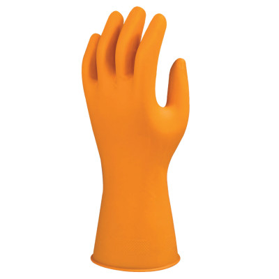 Marigold G12 Nitrile Gloves, Beaded Cuff, Flock Lined, Tangerine, Size 8.5