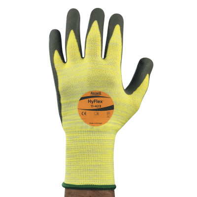 HyFlex Techcor Gloves, 10, Gray/Yellow