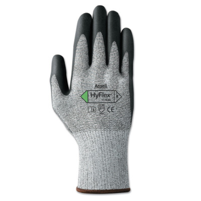 HyFlex 11-435 Cut-Resistant Gloves, Size 9, Black; Heather Gray
