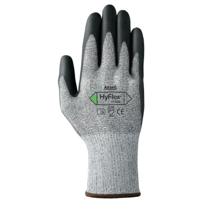 HyFlex 11-435 Cut-Resistant Gloves, Size 7, Black; Heather Gray