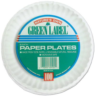 "(BAG/100) 9"" WHITE PAPER PLATES GRE"