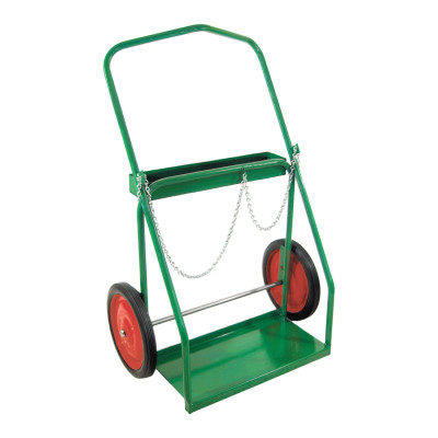 "Low-Rail Frame Dual-Cylinder Cart, For 9.5""-15"" dia., 14"" Solid Rubber/Steel Rim"