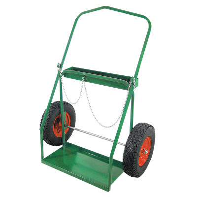 "Low-Rail Frame Dual-Cylinder Carts, Holds 9.5""-15"" dia., 16 in Pneumatic Wheels"