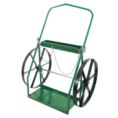"Low-Rail Frame Dual-Cylinder Carts, For 9.5""-15"" Cylinder, 24 in Steel Wheels"