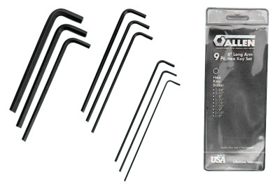 Hex Key Sets, 9 per pouch, Hex Tip, SAE