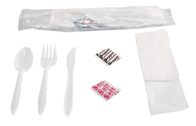 Wrapped Cutlery Kits, Fork, Knife, Spoon, Napkin, Salt & Pepper Packets