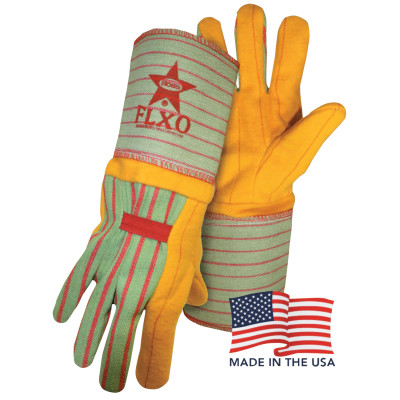Flxo Chore Gloves, Gauntlet Cuff, Green/Red/Gold, Large