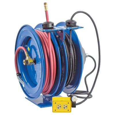 C Series Combination Spring Driven Air Hose Reels, 3/8 in x 50 ft,12 AWG