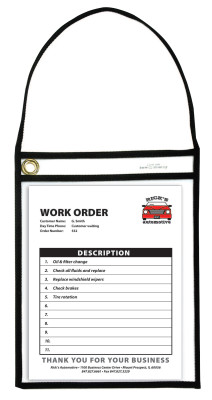 BLK SHOP TICKET HOLDER W/STRAP CLR 9 X 12