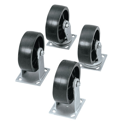 Heavy-Duty Casters, 4 in, 2 Fixed; 2 Swivel