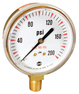 2 in Welding/Compressed Gas Gauge, 200 psi, Polished Brass, 1/4 - 18 NPT LM