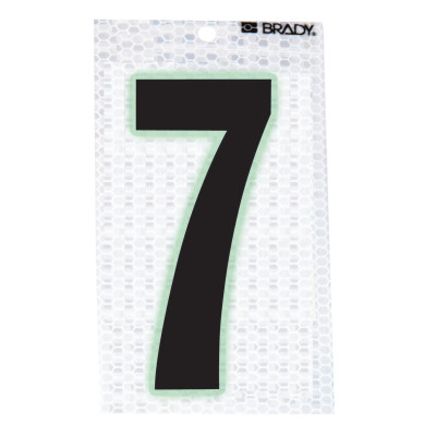 """Glow-In-The-Dark/Ultra Reflective Numbers, 3.5 in x 2.5 in, """"7"""", Black/Silver"""