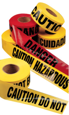 Barricade Tape, 3 in x 1,000 ft, Yellow, Caution Safety Hazard Keep Away