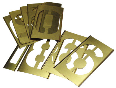 15 Piece Single Number Sets, Brass, 1 1/2 in