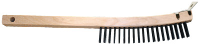 "Curved Handle Scratch Brushes, 13 3/4"", 3X19 Rows, Carbon Stl Wire, Wood Handle"