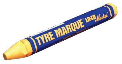 Tyre Marque Rubber Marking Crayons, 1/2 in X 4 5/8 in, Yellow