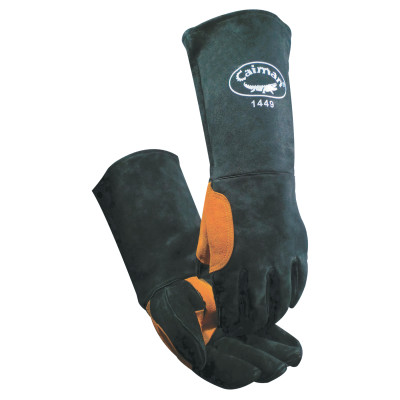 Heatflect Welding Gloves, Cow Split Leather, One Size, Black/Orange