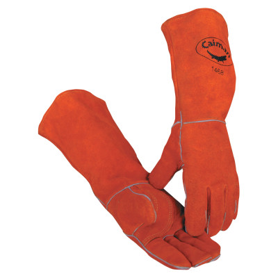 Welder's Gloves, Cow Split Leather, One Size, Rust Brown