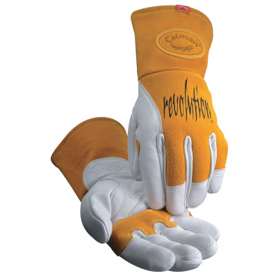 MIG/Multi-Task Welding Gloves, Cow Grain Leather/Pigskin, X-Large, White/Tan