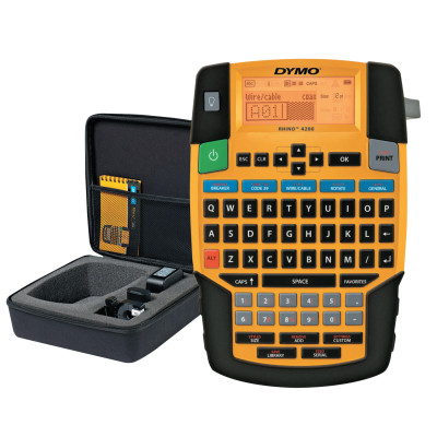 "RHINO 4200 Label Printer, Includes Black on White 1/2"" x 18'"