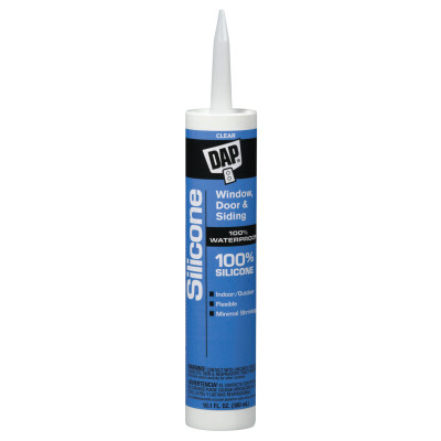 All-Purpose 100% Silicone Rubber Sealants, 10.1 oz Canister, Clear