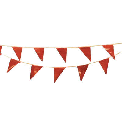 Pennants, Vinyl, 9 in x 12 in, Red, 60 ft String