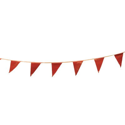 Pennants, Vinyl, 9 in x 12 in, Red, 100 ft String