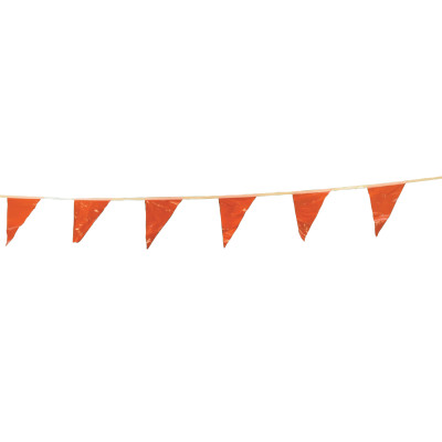 Pennants, Vinyl, 9 in x 12 in, Orange, 100 ft String