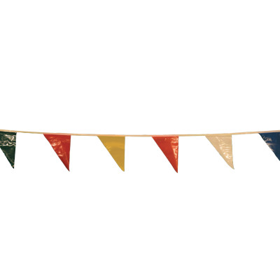 Pennants, Vinyl, 9 in x 12 in, Multi-Colored, 60 ft String