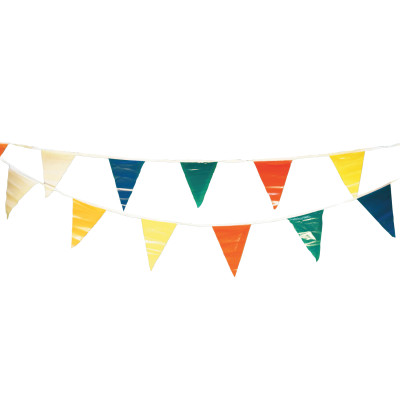 Pennants, Vinyl, 9 in x 12 in, Multi-Colored, 100 ft String