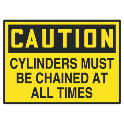 Safety Label, CAUTION CYLINDERS MUST BE CHAINED, 3.5 x 5, Adhesive Vinyl, 5/Pk
