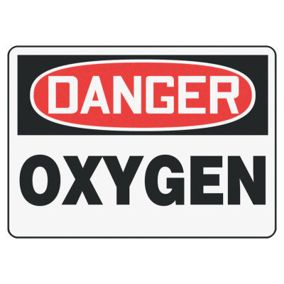 Safety Sign, DANGER OXYGEN, 7 x 10, Plastic