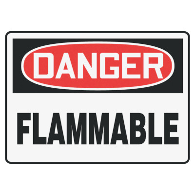 Safety Sign, DANGER FLAMMABLE, 7 x 10, Adhesive Vinyl