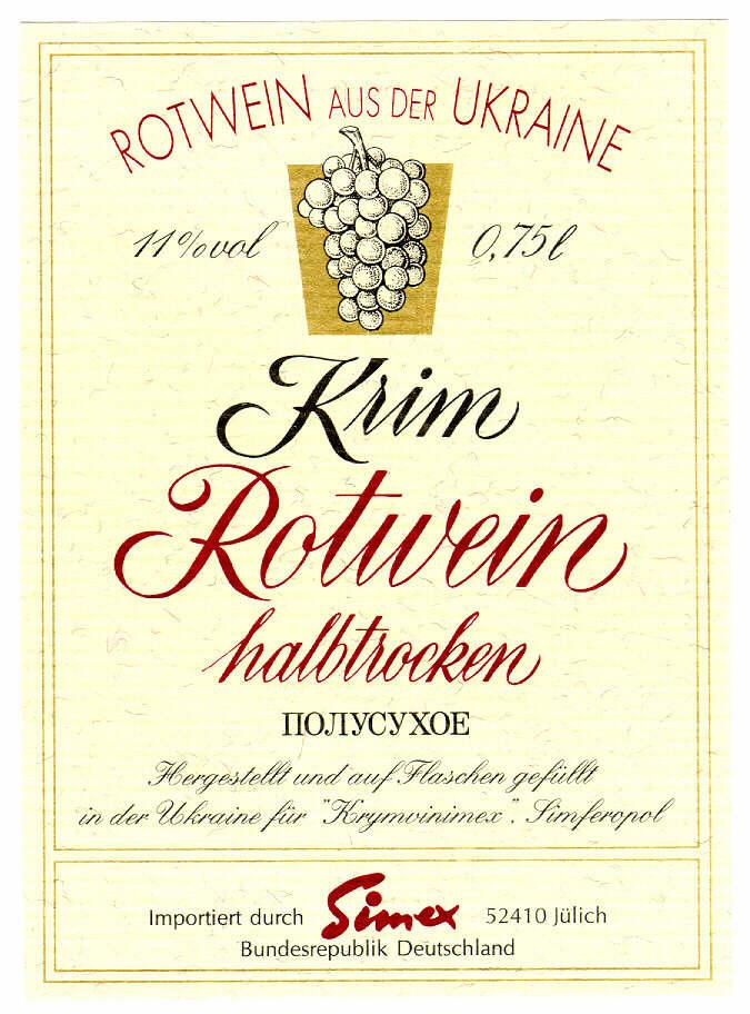 """ROTWEIN AUS DER UKRAINE 11%vol 0,75l Krim Rotwein halbtrocken IIOJIYCYXOE Hergestellt und auf Flaschen gefüllt in der Ukraine für """"Krymvinimex."""" Simferopol Importiert durch Simex 52410 Jülich Bunderep"""