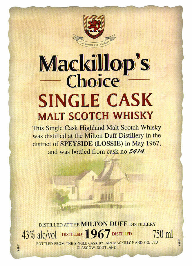 Mackillop's Choice SINGLE CASK MALT SCOTCH WHISKY