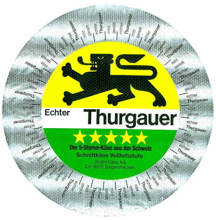 Echter Thurgauer Der 5-Sterne Käse aus der Schweiz Schnittkäse Vollfettstufe Strähl Käse AG CH-8573 Siegershausen